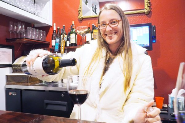 Heather Bartending at the Bunker House Cafe & Social Lounge