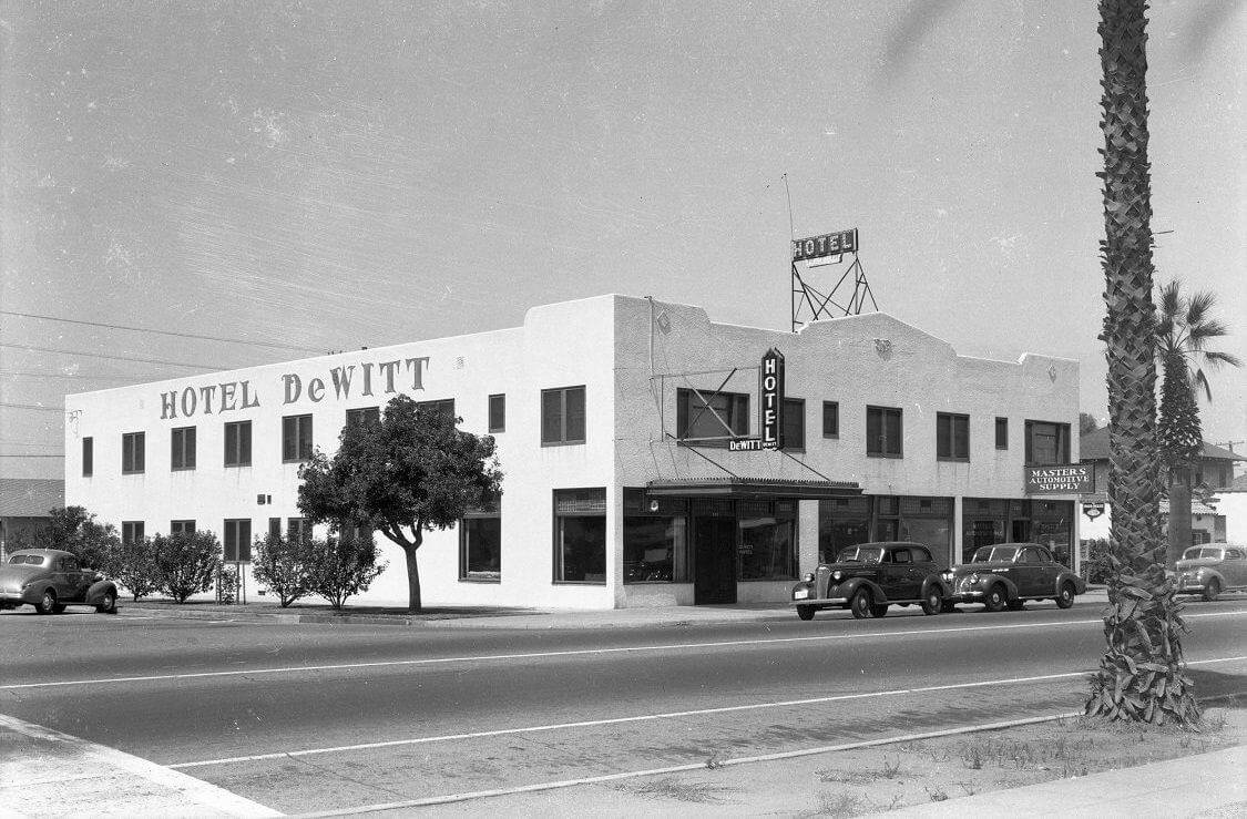 DeWitt Hotel and Masters Automotive Supply circa 1945