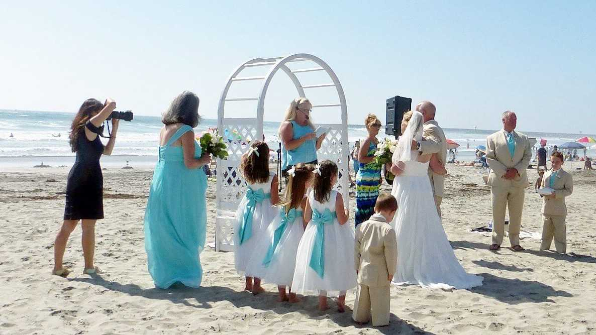 oceanside beach wedding ceremony