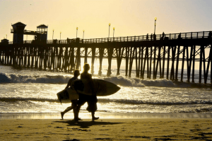 Surfers at sunset in Oceanside CA