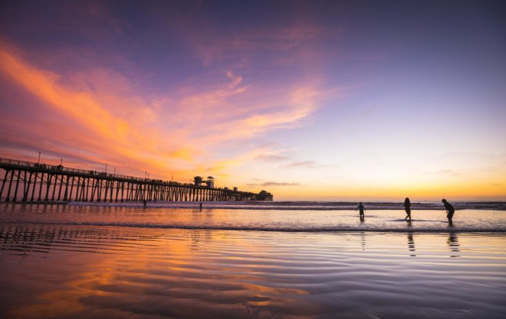 Oceanside Pier, sunset, southern california, playing in the water