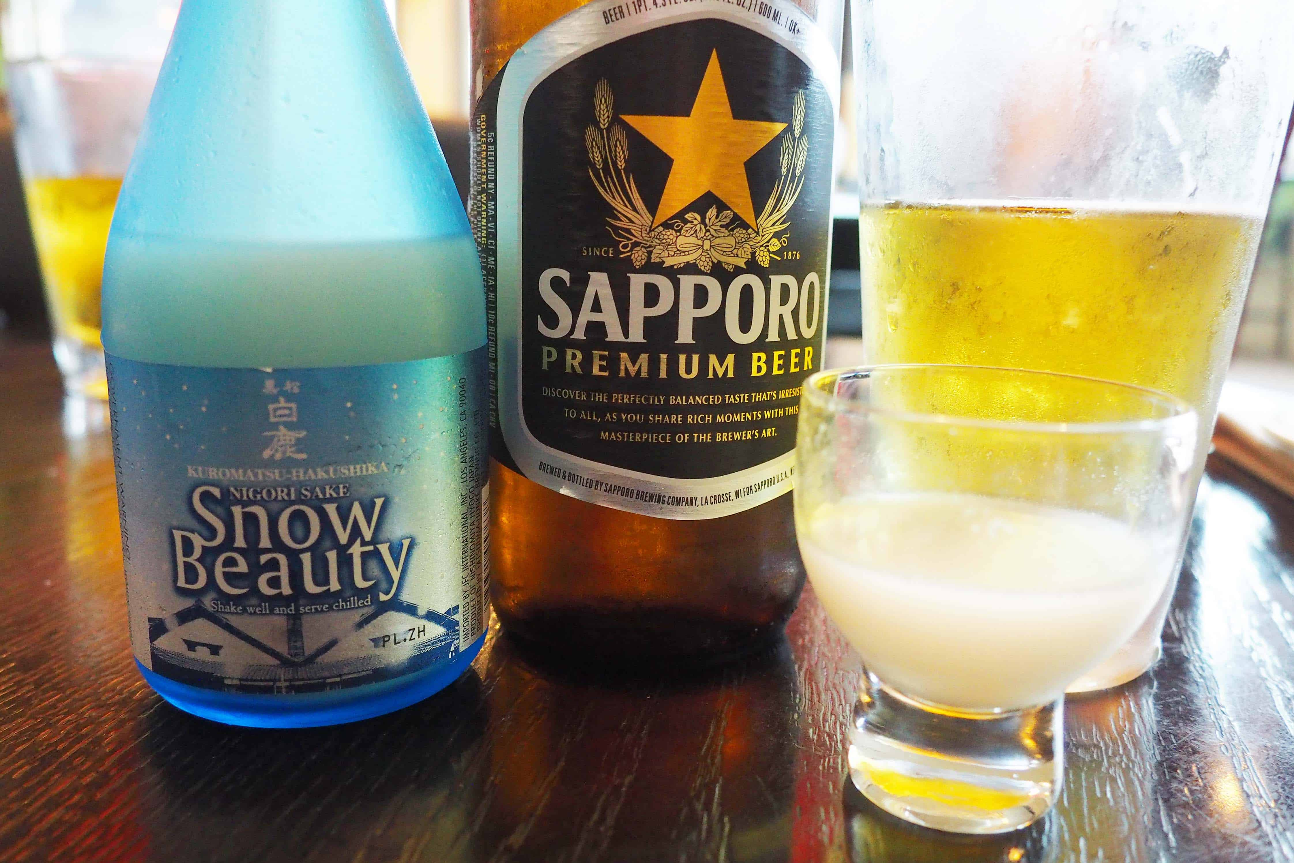 Sapporo and Snow Beauty Sake at Harney Sushi