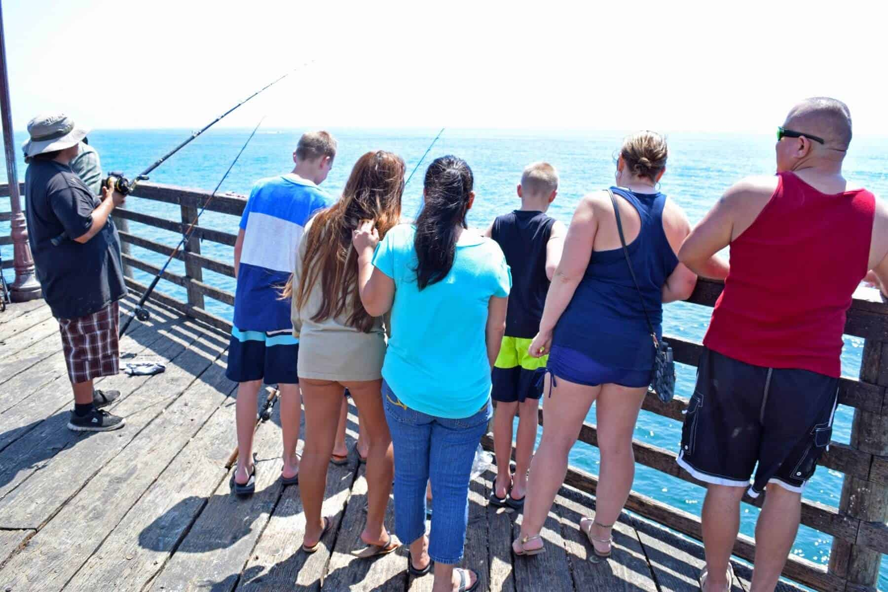 Family Watching Fishing from the Oceanside Pier | Oceanside, CA