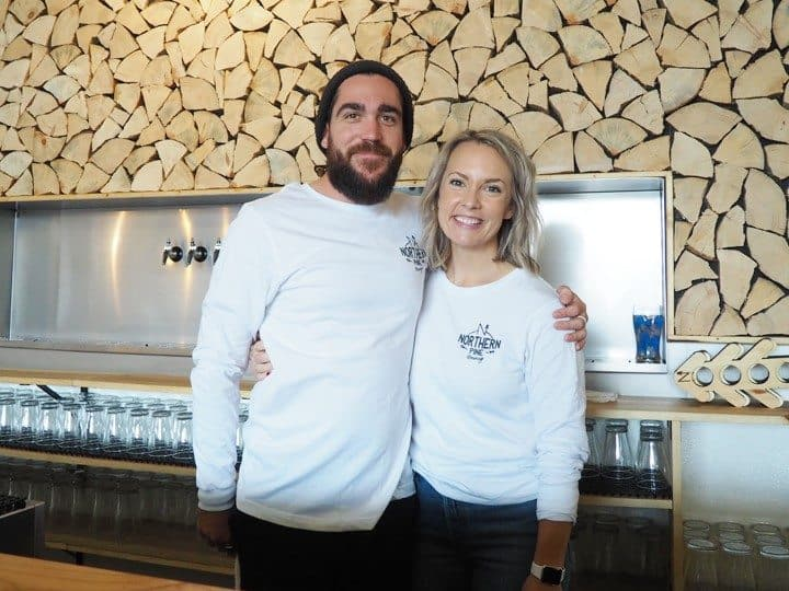 Northern Pines Brewing Bartender Chad Lee and Director of Operations Anne Ortega Oceanside