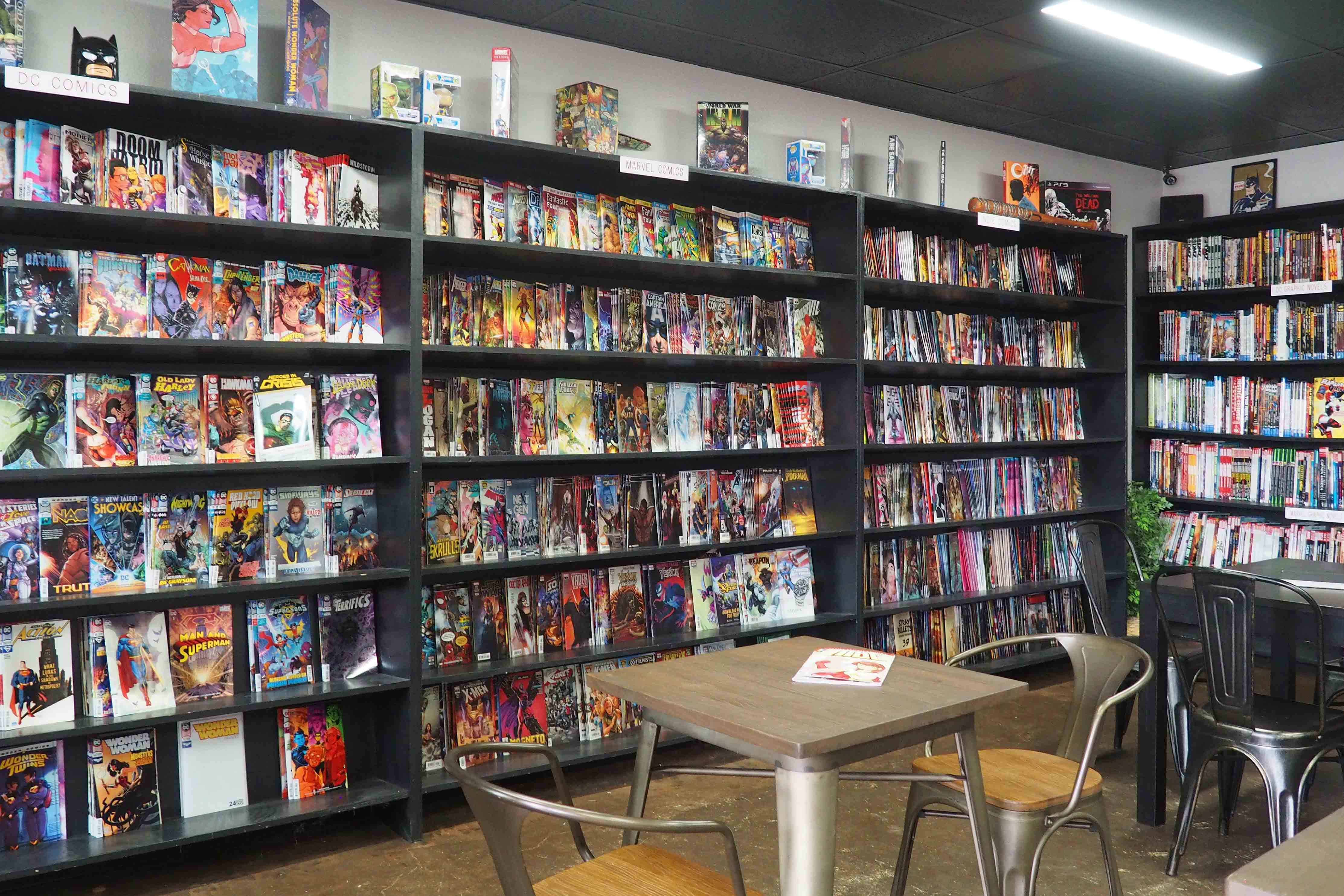 Shelves of Comic Books at Panels Coffee