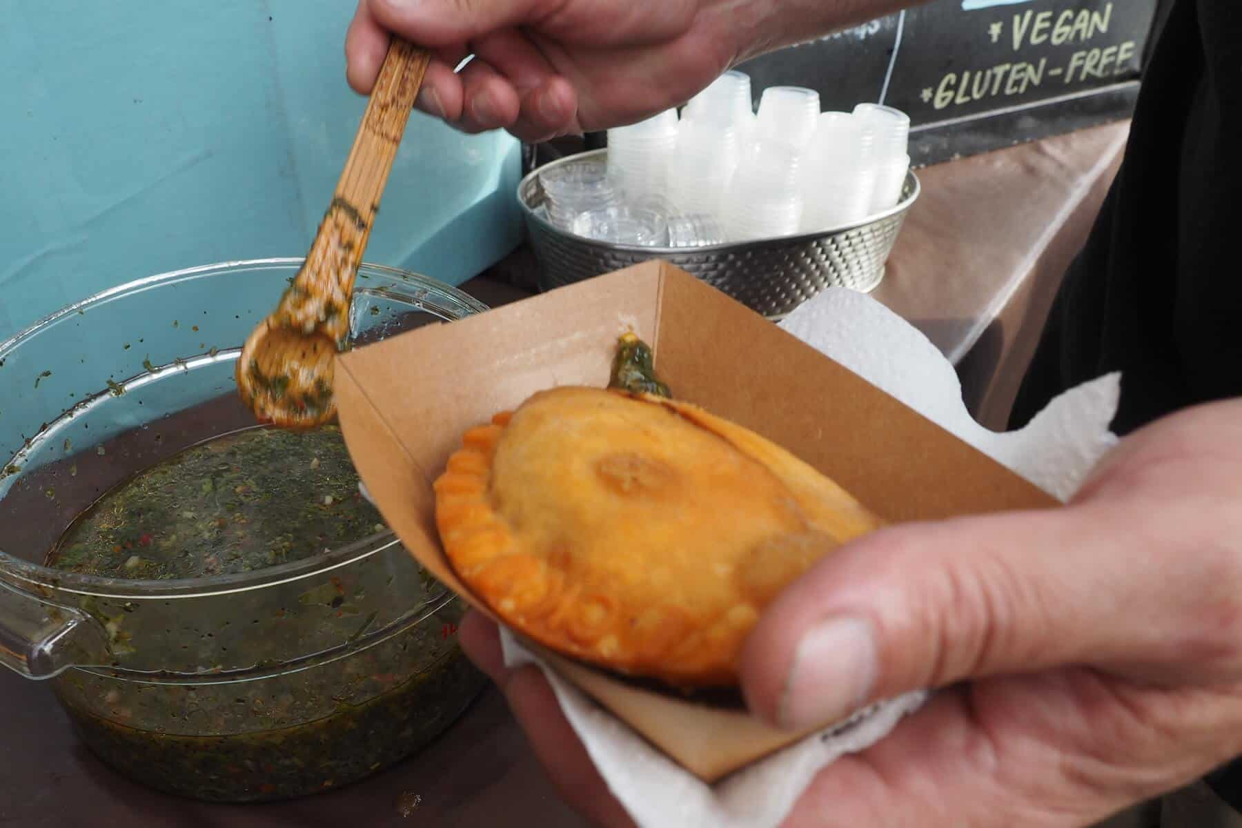 Paraná's Chicken Empenada and Chimichurri at the Oceanside Sunset Market