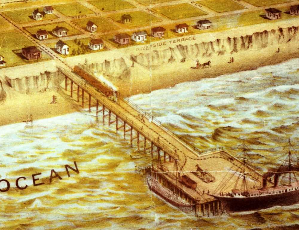 Portion of 1887 Lithograph depicting the railroad spur on the wharf (which never came to be). Photo from the Oceanside Historical Society Collection