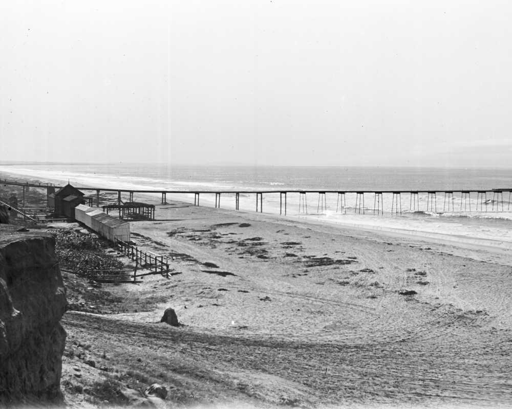 Oceanside's 2nd pier, under construction in 1894. Photo from the Oceanside Historical Society collection